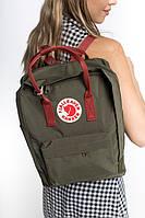 Портфель Fjallraven Kanken Classic 16 L рюкзак канкен класік хакі з бордовими ручками канкен класік хакі, фото 1