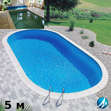 Копінговий камінь по периметру басейну з доріжкою шириною 0,75 м - комплект для збірного басейну 5м