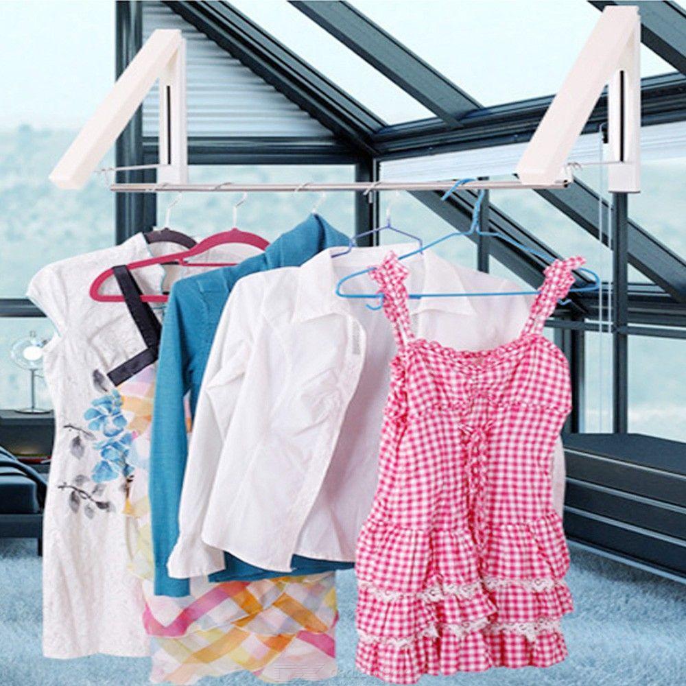 Подвійна висувна складна вішалка для одягу