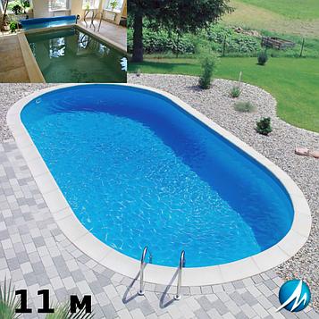 Копінговий камінь по периметру басейну з доріжкою шириною 0,75 м - комплект для збірного басейну 11м