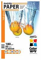 """Фотобумага """"ColorWay"""" глянцевая, 10х15, 50 листов"""