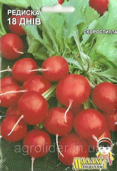 Семена редис 18 дней (круглый) 20г Красный (Малахiт Подiлля)