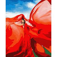 Картины для росписи по номерам Женщина в красном, на холсте акриловыми красками ,40*50 GX37565 BrushMe