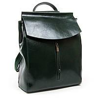 Женский рюкзак кожаный зеленого цвета А. Rai городской рюкзак для учебы, работы из натуральной кожи