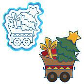 Візок з подарунками вирубка з трафаретом 12*10 см (TR-1)