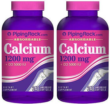 Витамины и Минералы Piping Rock  Absorbable Calcium 1200 mg +D3 5000 IU ( 240 cap)