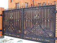 Широкие металлические ворота во двор Херсон заказ