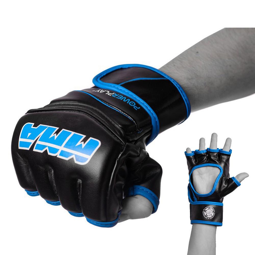 Рукавички для MMA PowerPlay 3055 Чорно-Сині XL