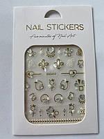 Наклейки для дизайна ногтей, золото