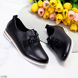 Классические черные кожаные демисезонные туфли натуральная кожа низкий ход