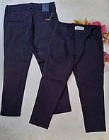 Шкільні штани котонові підліткові для хлопчика розмір 10-13 років,колір синій