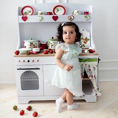 """Детская деревянная кухня """"Клубничка"""" с зеленым"""