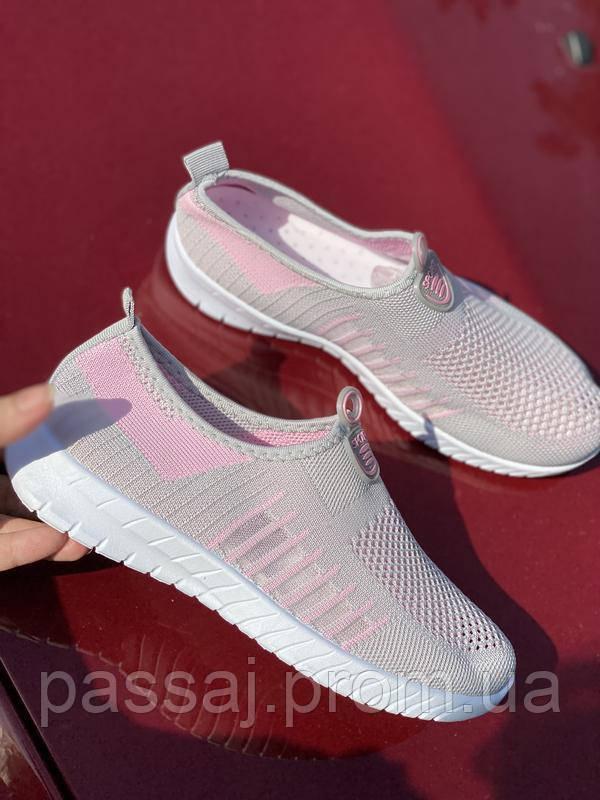 Легкі сіро-рожеві текстильні кросівки, мокасини