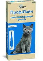 Капли на холку Профилайн до 4 кг 1уп. 4 пипетки * 0.5 мл для кошек инсектоакарицид