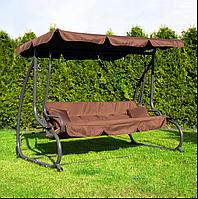 Качель диван садовая Springos Linda GS0003 раскладная с навесом и подставканником
