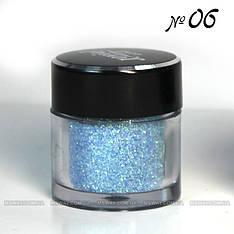 Jovial Luxe - Рассыпчатые блестки в баночке E-501 №06 (лазурный, голубой)