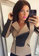 Куртка женская короткая со вставками из экокожи P520