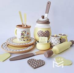 Детская деревянная посуда для игровой кухни