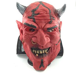 Маска латексная призрак, голова дьявола, сатана