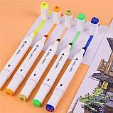 Набір скетч маркерів 24 шт для малювання двосторонні професійні спиртові білі, фото 9