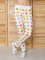 Женские спортивные штаны Смайлики на белом. Размер 42 - 50