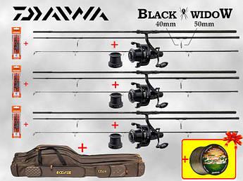 Карповый Набор Удилища Daiwa Black Widow + Катушки Carp Pro BlackPool +Чехол для удилищ +Леска Daiwa в ПОДАРОК