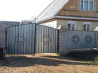 Ворота кованые с профнастилом Херсон, установка и гарантия