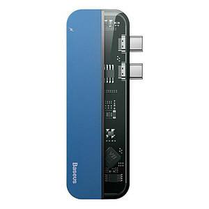 USB-хаб Baseus Transparent Series Dual Type-C Multifunctional CAHUB-TS03 (Голубой)