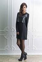 Черное платье,с эко-кожи,свободное,длинный рукав