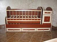 """Детская кроватка """"Трансформер МДФ"""" с маятниковым механизмом, ящиками и комодом ТМ Колисковий світ"""