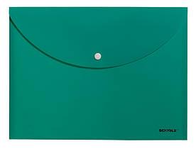 Папка-конверт на кнопке для документов А4, SCHOLZ зеленая