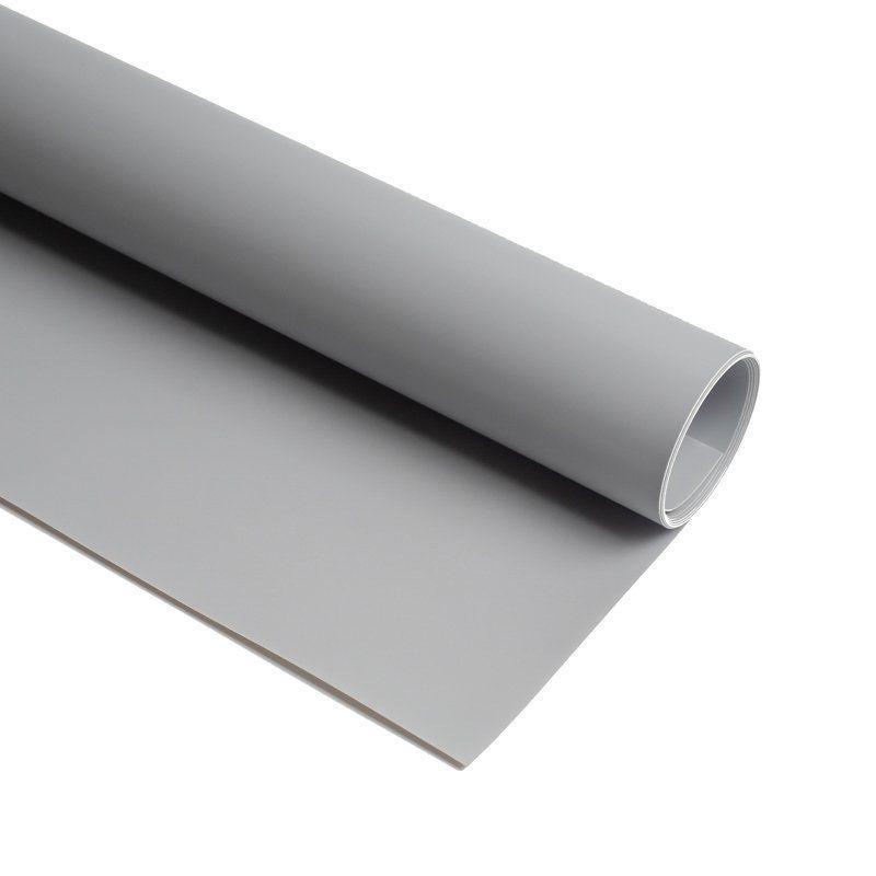 Фон для предметной съемки виниловый матовый (0.68×130 см Серый ПВХ)