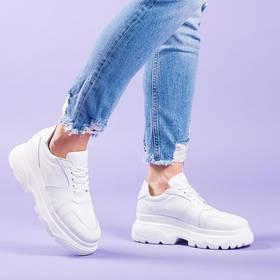 Модные женские кроссовки на высокой платформе натуральная кожа Размерный ряд 36-41