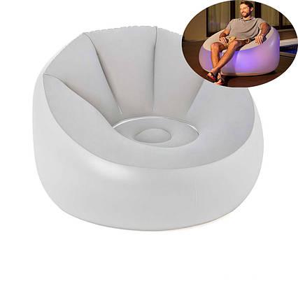 Надувне крісло Bestway 75086, 102 х 97 х 71 см, з LED подсведкой, біле