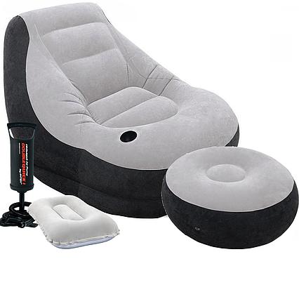 Надувне крісло Intex 68564-2, 130 х 99 х 76 см, з ручним насосом і подушкою, пуфик 64 х 28 см