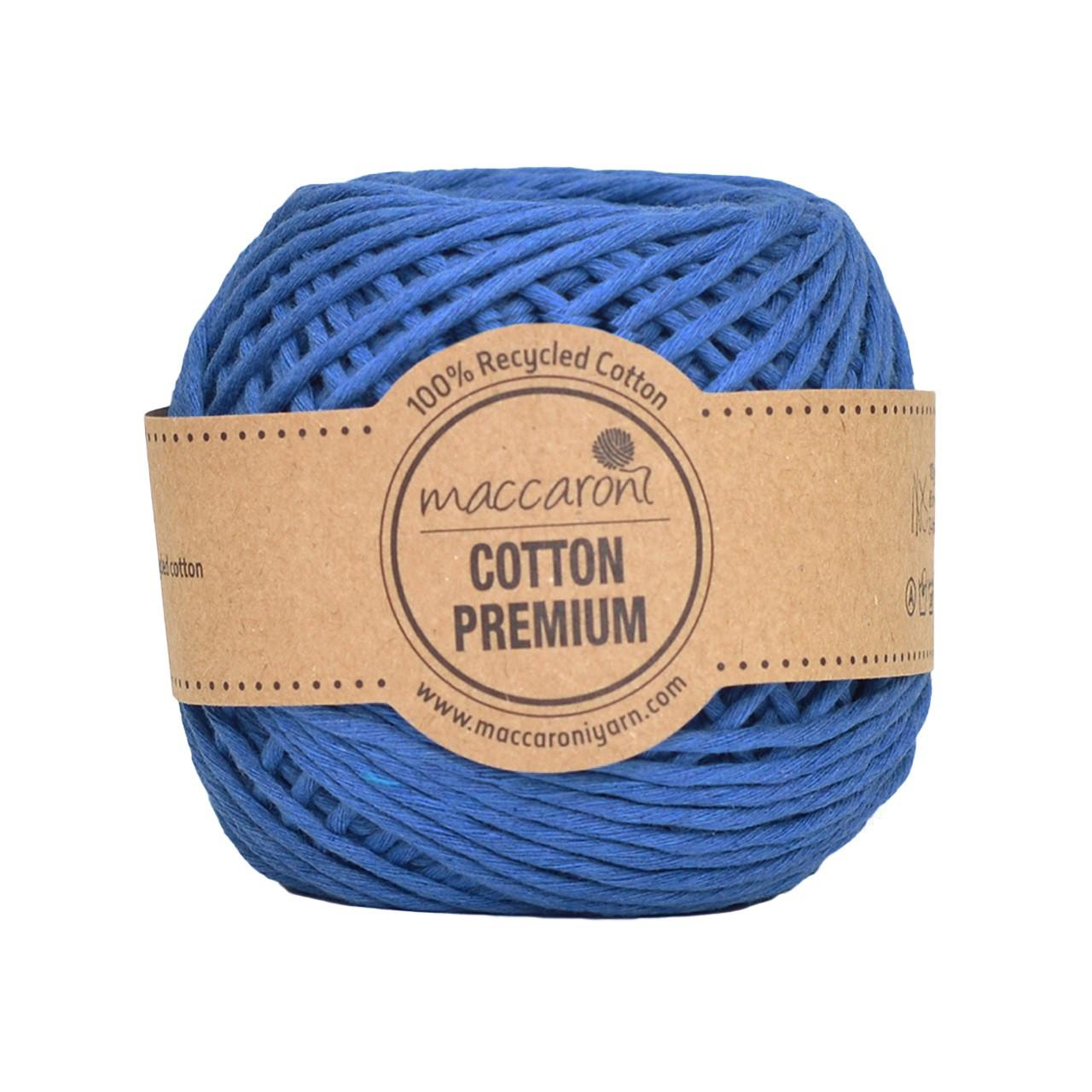 Хлопковый шнур Maccaroni Cotton Premium 2 mm Голубой