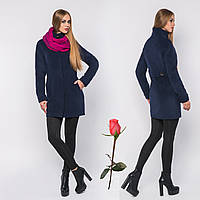 Короткое демисезонное пальто из итальянского кашемира GT 778587 Темно-синий