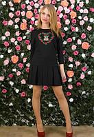Черное платье,свободное,с вышивкой,короткое