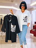 Рубашка женская белая с принтом Aras батал 20-6575