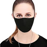 Маска многоразовая защитная тканевая хлопковая Black mask противовирусная FFP2 1000 штук Черный, фото 2