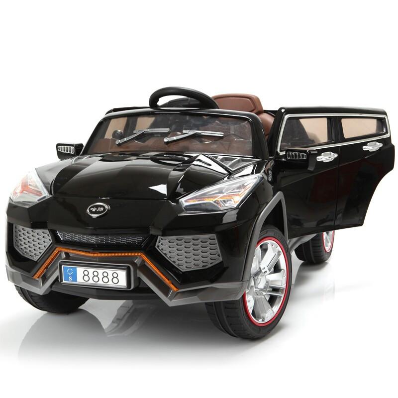 Детский Электромобиль Джип Lamborghini Utus JJ 288 черный на радиоуправлении, открываются двери и багажник