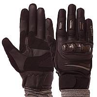 Мотоперчатки кожаные мужские с закрытыми пальцами NERVE KQ1039 размер M черные, фото 1