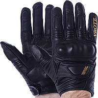 Мотоперчатки шкіряні чоловічі з закритими пальцями VROTE V003 розмір M чорні