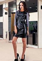 Черное облегающие платье с эко-кожи,короткое.