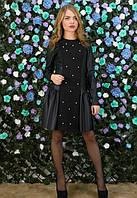 Платье черное с эко-кожи,утепленное