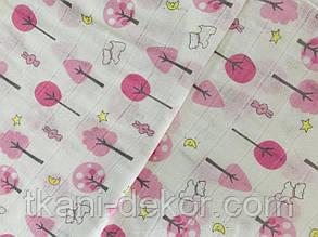 Муслін (бавовняна тканина) рожеві деревця (ширина 1,2 м)
