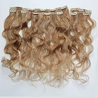 Набор натуральных вьющихся волос на клипсах 52 см. Оттенок №18-613.  Масса: 120 грамм., фото 1