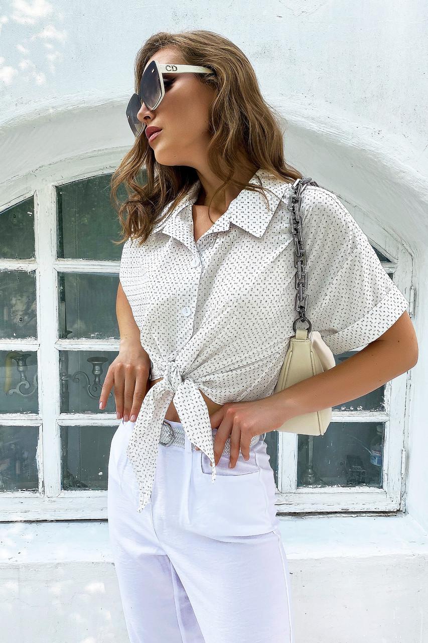 Белая летняя женская рубашка с завязками на талии