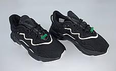 Рефлектив | Чоловічі кросівки в стилі Adidas Ozweego Black Green Reflective, фото 3