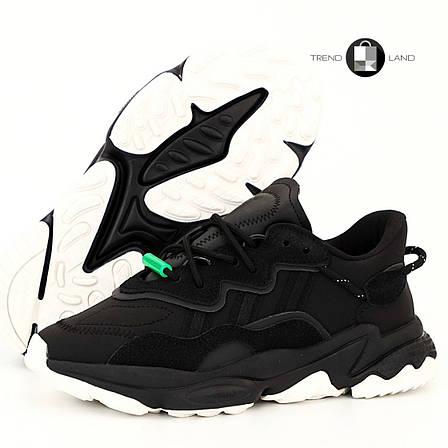 Рефлектив | Чоловічі кросівки в стилі Adidas Ozweego Black Green Reflective, фото 2